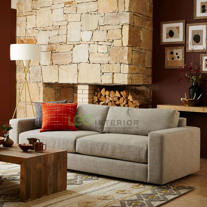 Sofa băng Urban, khung làm từ gỗ dầu sấy đã xử lý chống mối mọt, nệm D40 chống xẹp lún, mẫu thiết kế vừa phù hợp chất liệu da, vừa phù hợp chất liệu vải