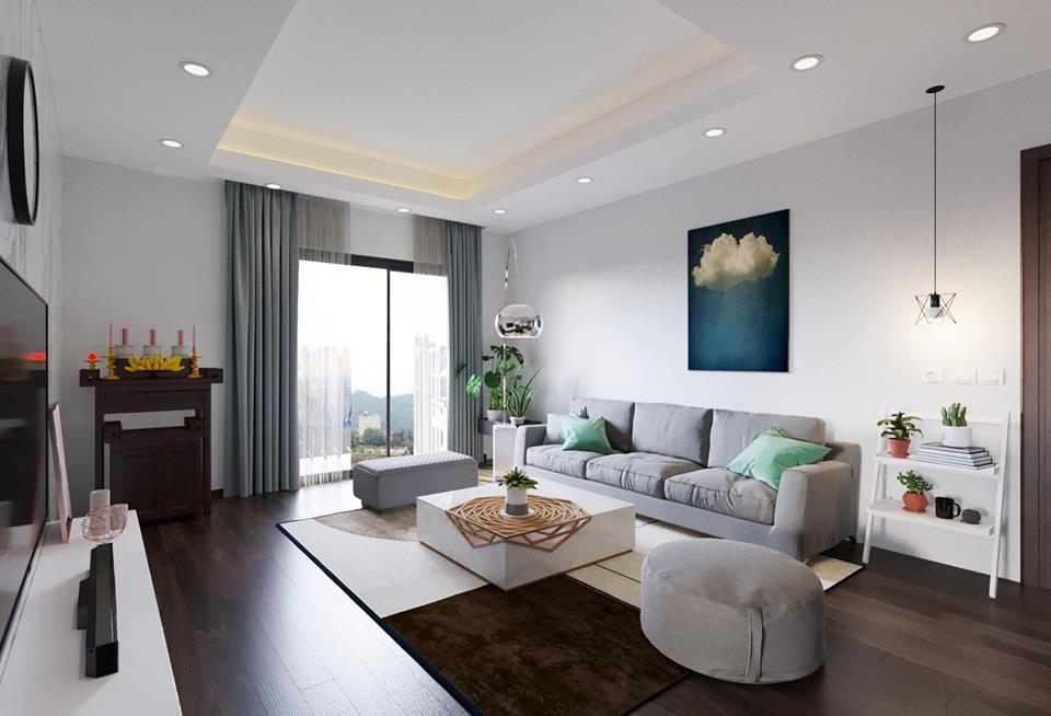 Rèm cửa căn hộ chung cư màu xanh ngọc mát mẻ