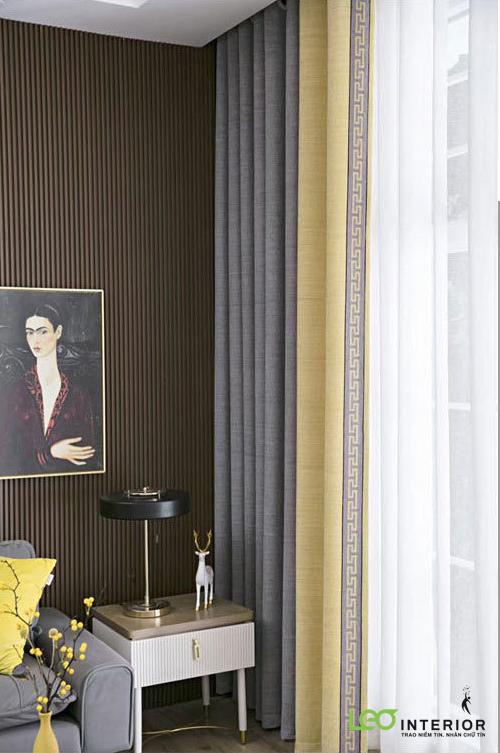 Rèm cửa 2 lớp vải bố Niny may phối 2 màu và viền vải
