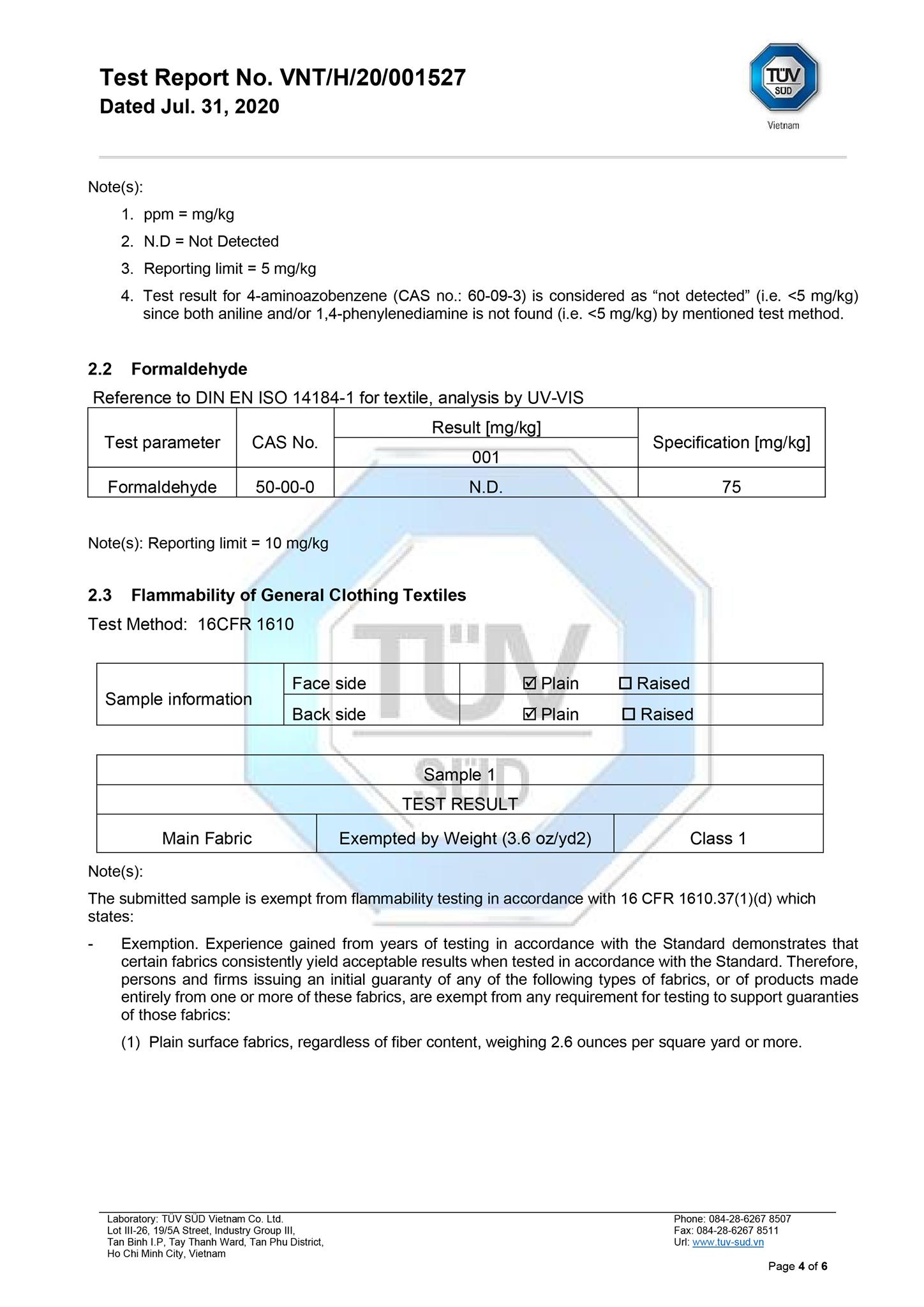 Chứng nhận về chống cháy Mỹ, kháng khuẩn, không fomaldehyde, không có chất thẩy nhuộm độc hại của voan FUJI do tập đoàn TUV Cộng Hoà Liên Bang Đức cấp